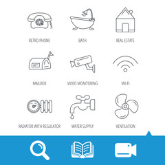 Wifi, video camera and mailbox icons. Real estate, bath and water supply linear signs. Radiator with heat regulator, phone icons. Video cam, book and magnifier search icons. Vector