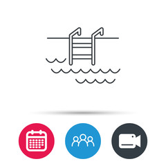 Swimming pool icon. Waves and stairs sign. Group of people, video cam and calendar icons. Vector