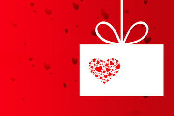 hearts on red and white background