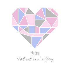 Geometric triangle style heart. Valentines Day Design card. Greeting card. Vector illustration