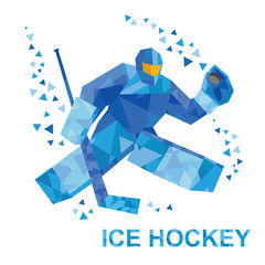 Winter sports - ice hockey. Cartoon goalkeeper with hockey-stick catches the puck. Player in helmet and with shields. Flat style vector clip art isolated on white background.