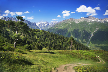 Caucasian mountains. Georgia. Svaneti. Hiking way near the village of Mestia