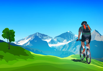 Cyclist traveling