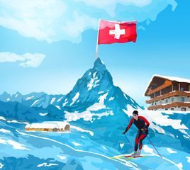 Wall Mural - Alps welcome card