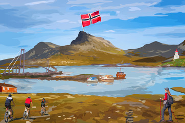 Wall Mural - Norway welcome card