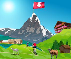 Fototapete - Alps Matterhorn card