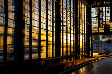 trainstation in berlin with evening sun