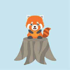 Vector illustration of red panda cartoon style.