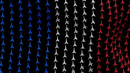 France flag is waving in the wind, consisting of big Eiffel towers, on a black background. 3D render.
