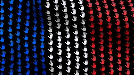 France flag is waving in the wind, consisting of big hands, on a black background. 3D render.