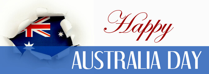 Red, white and blue Australian flag framed by white paper torn open in a round shape. Text for Australia Day celebration. Sized to fit popular social media banners