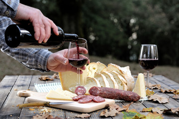Outdoor eating with bread, cheese, sausage and red wine.