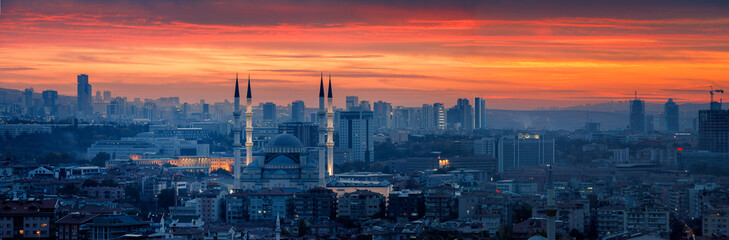 Ankara and Kocatepe Mosque in sunset
