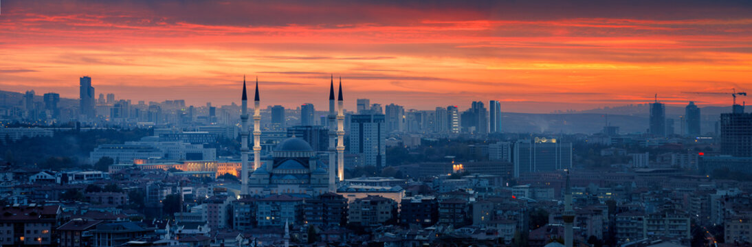 Ankara and Kocatepe Mosque in sunset