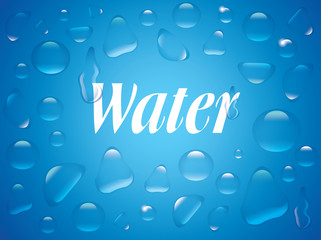Clear transparent water drops isolated on the blue background.