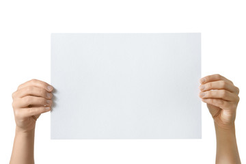 hand holding blank paper isolated