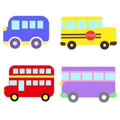 Vector transportation theme with car, public transport, school bus, tourist buses. A set of cute and colorful icon isolated on white background