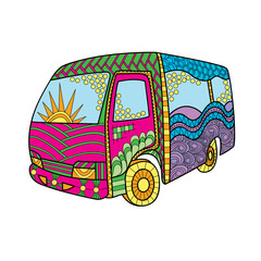 Hand-drawn bus in doodle art style. Hippie vintage minivan. Colorful decoration for cards, wedding invitations, congratulations, poster, banner. Template for coloring books.