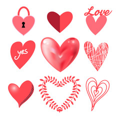 Vector festive collection of hearts
