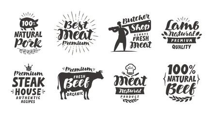 Butcher shop, labels. Meat, beef, pork, lamb set icons. Lettering vector illustration