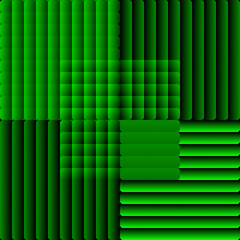 Tile composed of semitransparent stripes in optical art style. Decorative vector bakcground in green.