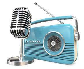 Microphone and Radio. 3D render of retro Microphone and Radio. Blue and metal theme.