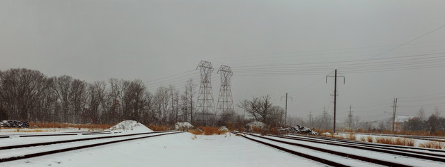 Railway covered with snow.Railroad winter morning.