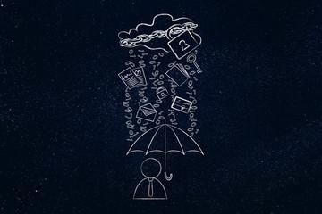 user with umbrella under binary code rain, data breach protectio