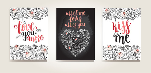 Set of greeting cards. Backgrounds with calligraphy brush lettering and hand drawn elements. Template cards, banners or poster for Valentine's Day. Vector illustration.
