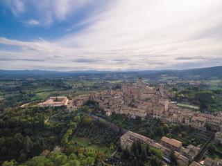 San Gimignano, Italy, aerial view