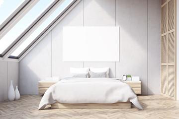 Attic bedroom, wooden floor