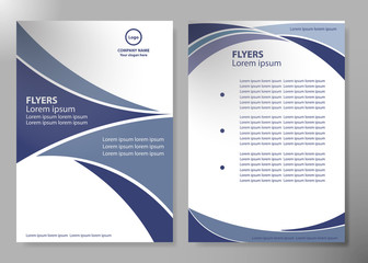 Brochure design template vector. Blue abstract line and square cover book portfolio presentation poster in A4 layout. Flyers report business magazine.