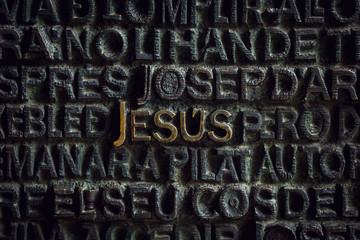 Word Jesus, detail of the door at Sagrada Familia, Barcelona