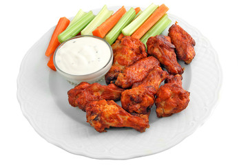 Buffalo chicken wing appetizer platter.