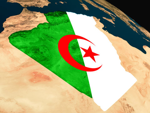 Flag of Algeria from space