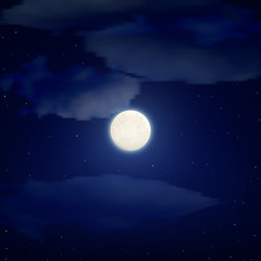 vector illustration. The background night sky. The round, full moon, star, cloud. Backdrop.