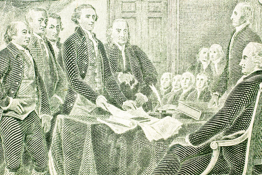 Closeup of the Declaration of independence drawing from the back of a two dollar bill.