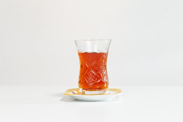 Armudu. Traditional cup for tea in Azerbaijan and Turkey.