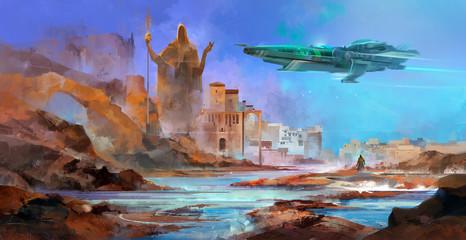 drawn spaceship over an alien planet