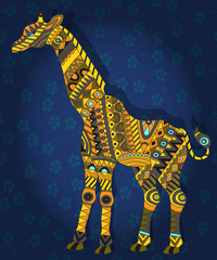 Illustration in ethnic style with a picture of a giraffe on a dark blue  floral background