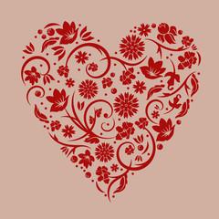 Vector illustration of floral red valentine heart