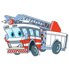 Cartoon emergency transport. Fire truck, isolated on white background. Childish vector illustration and colorful book page for kids.
