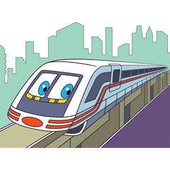 Cartoon vehicle transport. High speed electric train, isolated on white background. Childish vector illustration and colorful book page for kids.