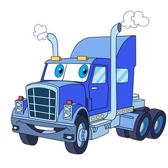 Cartoon vehicle transport. Heavy semi truck (trailer, lorry), isolated on white background. Childish vector illustration and colorful book page for kids.