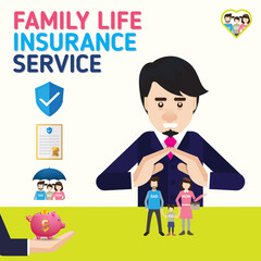 Family Protection, business service icons template. Can be used for workflow layout, banner, diagram. Vector illustration.