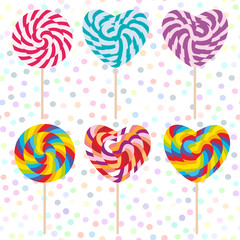 colorful Set candy lollipops, spiral candy cane. Candy on stick with twisted design on white abstract geometric retro polka dot background. Vector