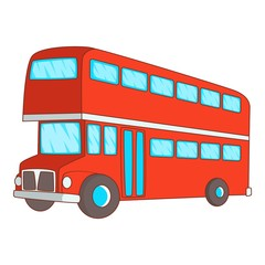 Double decker bus icon, cartoon style