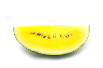 watermelon yellow juice seedless on white background