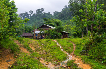 Vietnamese Farm Hut. Farm hut in a remote Vietnamese village. Small rain streams flowing down the paths in the front.
