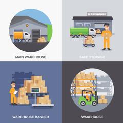 warehouse 2x2 flat design concept